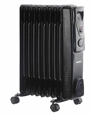 Daewoo 2000W Large Portable Oil Filled Radiator Heater with Thermostat - Black