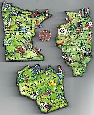 ILLINOIS  MINNESOTA  WISCONSIN  JUMBO  ARTWOOD STATE MAP MAGNETS - 3 NEW MAGNETS