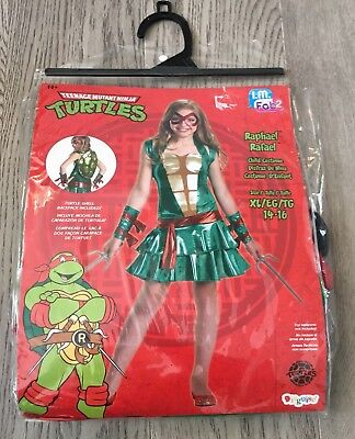 Teen Girls 14-16 Teenage Mutant Ninja Turtle Halloween Costume Rare Euc HTF