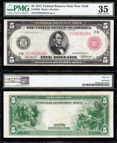Awesome *RARE* Choice VF++ 1914 $5 New York RED SEAL FRN Note! PMG 35! B10918545
