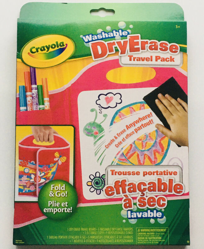 Crayola Washable Dry Erase Markers & Board Travel Pack 16 Piece Set Ages 3+