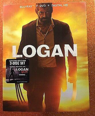 Logan  Blu Ray Dvd Digital  2017  3 Disc Limited Ed     Noir  New W  Slipcover