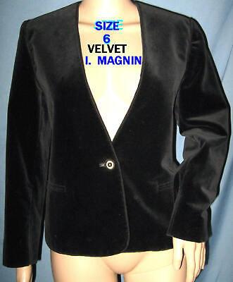 6 black I MAGNIN vtg VELVET career evening office blazer jacket secretary Black Velvet Blazer Jacket