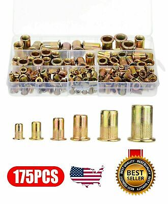 170pcs Set Rivet Nut Kit Mixed Zinc Steel Rivnut Insert Nutsert Threaded M3-m10
