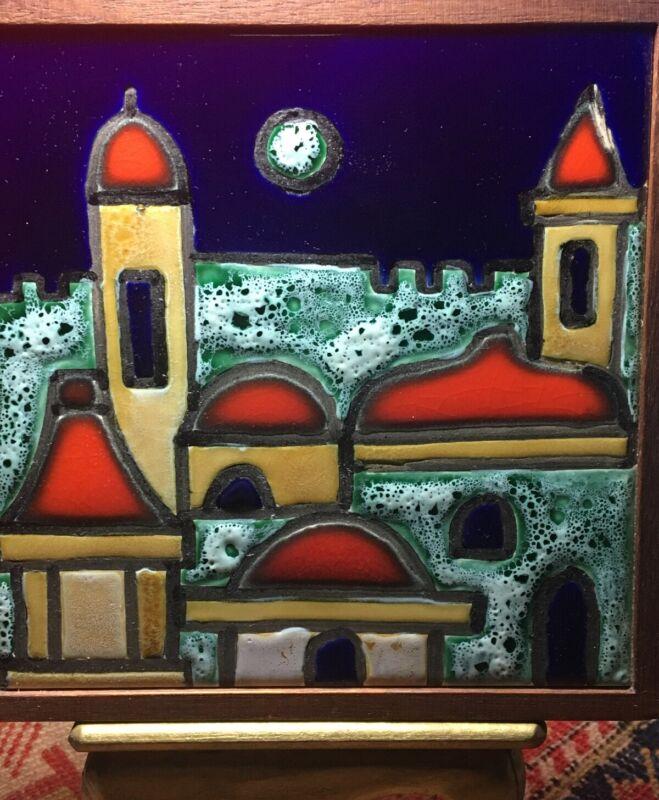 """Ceramic Art Tile """"Jerusalem"""" Israel - An Ein Reb; Hand-craft; Wood-Frame Trivet?"""