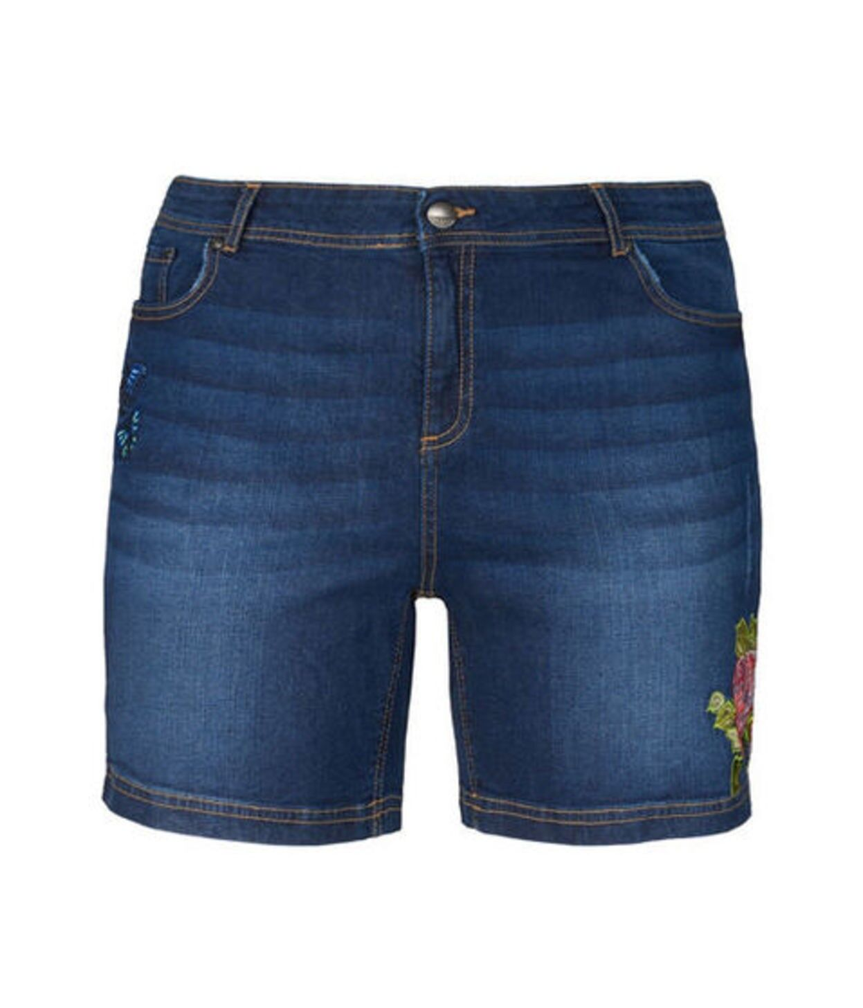 48 50 56 52 54 Neu Janina Damen Jeans Shorts // kurze Hose mit Stickerei Gr