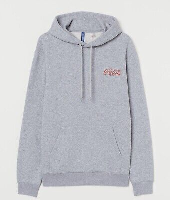 H&M Divided Authentic Coca-Cola Coke Pull Over Pockets Hoodie Grey Mens Medium M