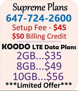 KOODO LTE Data Plans - 2 / 8 / 10 GB + $50 BONUS Credit