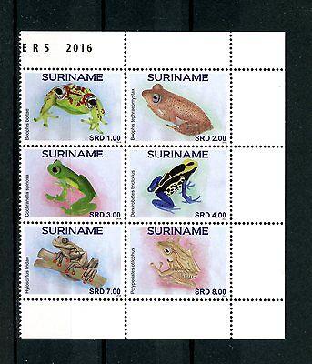 Suriname 2016 MNH Frogs 6v Block Kikkers Amphibians Stamps