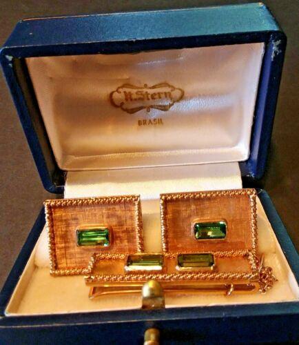 Vintage H. Stern 18 K Solid gold & Green Tourmaline Cufflinks & Matching Tie Bar