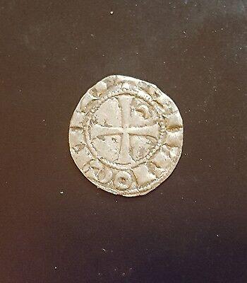 CRUSADERS BOHEMOND III ANTIOCH  1163 - 1201 AD  DENIER SILVER NICE COIN
