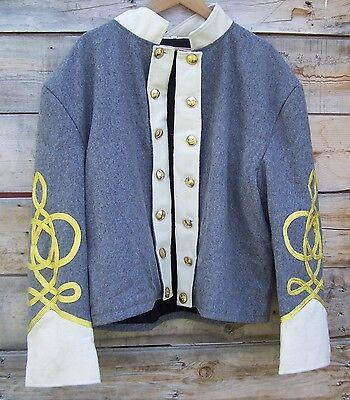 civil war confederate reenactor shell jacket with 4 row braids 46