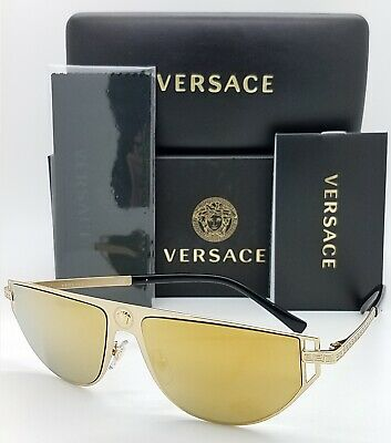 NEW Versace sunglasses VE2213 10027P 57mm Gold Brown Mirror AUTHENTIC Aviator