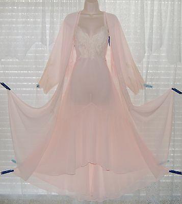 Vtg Pink Mermaid Hem Semi Sheer Peignoir Robe Nightgown Gown Negligee Set M L