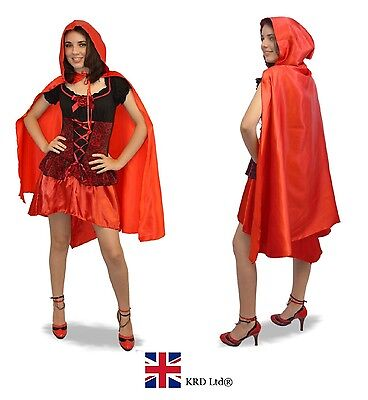 Red Hood Halloween Kostüme (Adult RED LONG CAPE WITH HOOD Ladies Girls Fancy Dress Costume Halloween Party)