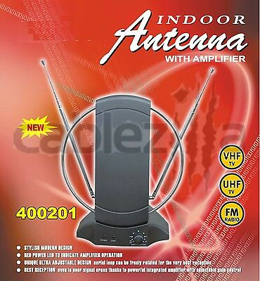 Indoor Uhf Hdtv - HDTV VHF UHF FM Indoor 36db Amplified Antenna 50 Miles Booster Gain Control