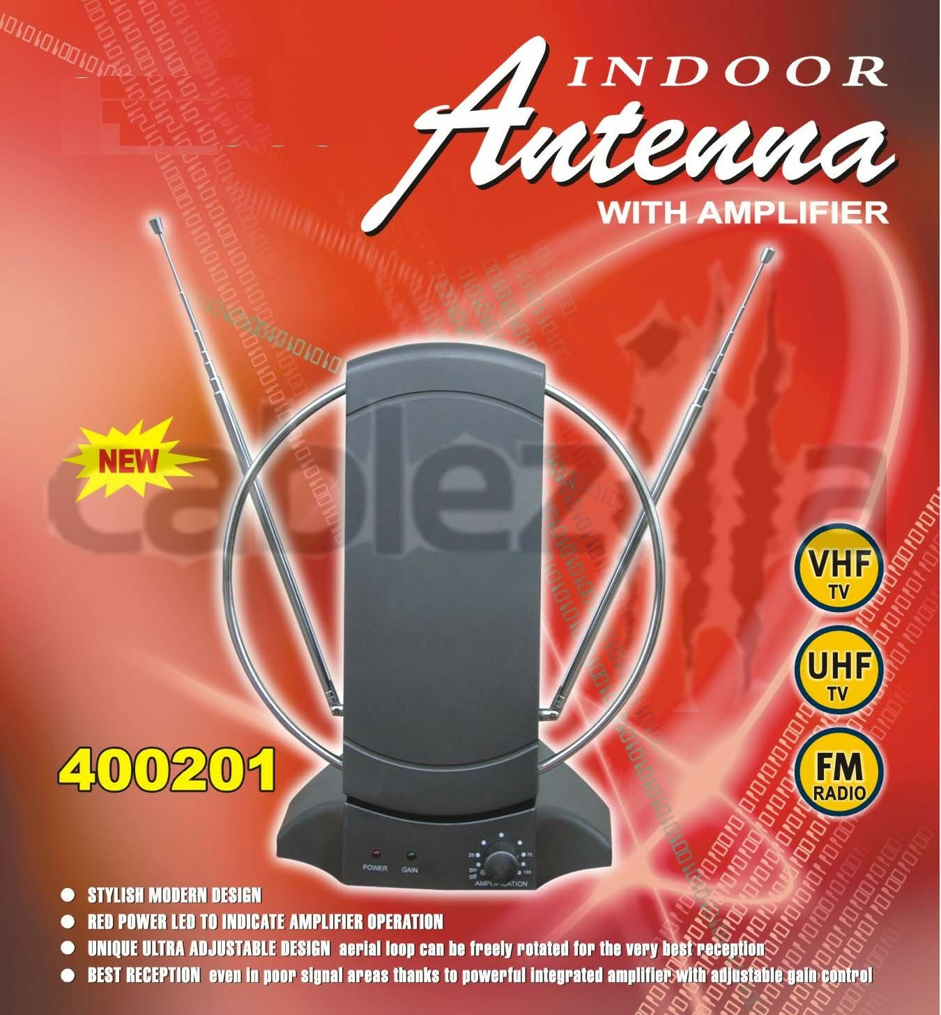 HDTV VHF UHF FM Indoor 36db Amplified Antenna 50 Miles Boost