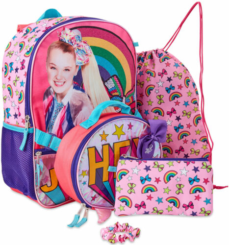 "5pc Set JoJo Siwa 16"" Backpack, lunch, pencil pouch, cinch bag, hair scrunchie"