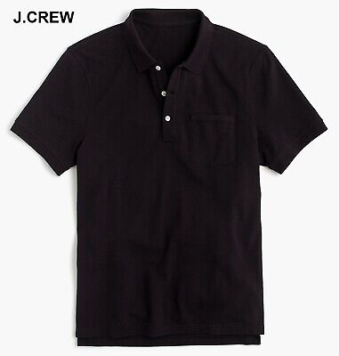 - J.CREW polo shirt pique cotton black pocket collar knit t-shirt tee basic nr NWT