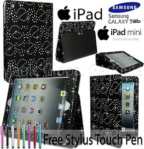 ★★ NEW DIAMOND BLING SPARKLY GEM FLIP CASE COVER FOR APPLE iPAD/SAMSUNG TABLET★★