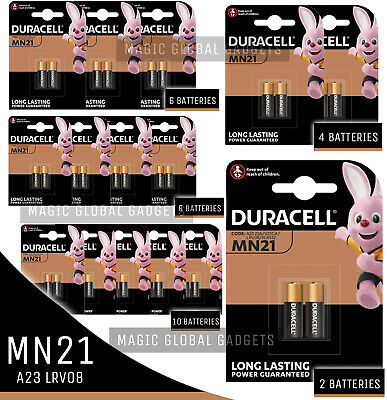 Duracell MN21 Alkaline Batteries 12V - 2 batteries A23 23A *AUTHENTIC* LONG EXP