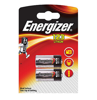 2 X  ENERGIZER CR123 CR123A 123 3V  PHOTO BATTERY LONGEST EXPIRY DATE