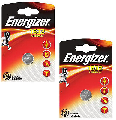 GENUINE ENERGIZER 2X CR1632 3V LITHIUM COIN CELL BATTERY DL1632 KCR1632, BR1632