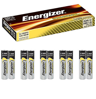 10X ENERGIZER INDUSTRIAL AAA BATTERIES ALKALINE 1.5V LR3 MN1500 PROCELL BATTERY