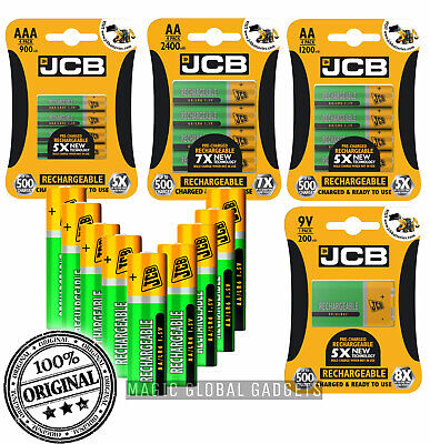 JCB Rechargeable Batteries AA AAA NiMH Pre Charged 1200 2400 900mAh 9V UK