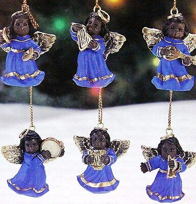 Black, African American Musical Angels, Set Of 6 Christmas Ornaments (1)