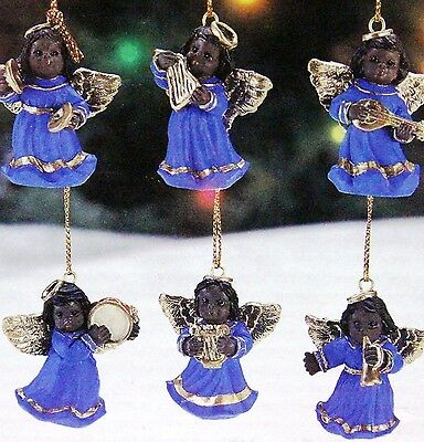Black, African American Musical Angels, Set of 6 Christmas Ornaments  - Musical Christmas Ornaments