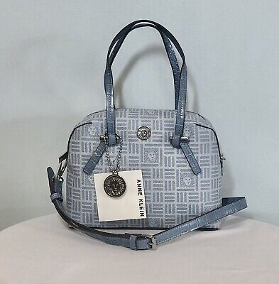 ANNE KLEIN Dome Satchel Crossbody Handbag Blue Pebble w/Silver Key Charm NWT