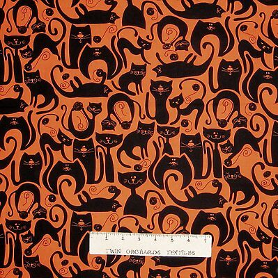 Halloween Fabric - Orange & Black Cat Silhouette - Benartex Kanvas YARD - Halloween Cat Silhouette
