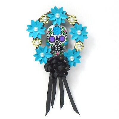 WMH Miniature Dollhouse Halloween Sugar Skull Wreath - Blue and Black](Blue Sugar Skull Halloween)