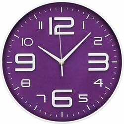 Purple 12 Wall Clock Silent No Ticking Quartz Clock Battery Operated Round Time