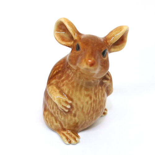 Ceramic Mouse Figurine Brown Rat Collectible Hand Painted Miniatures Statue