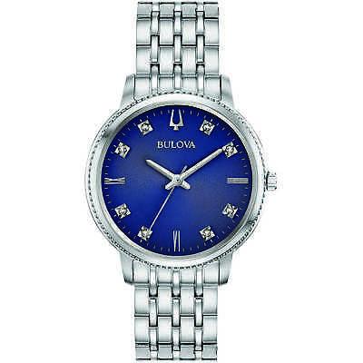 Bulova Women's Quartz Diamond Accent Silver-Tone Bracelet 32mm Watch 96P206