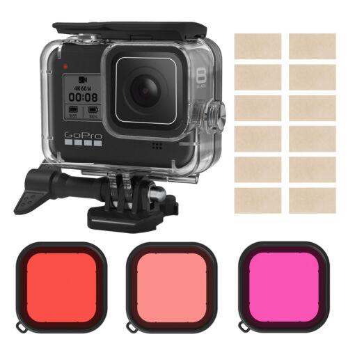 Housing Case Filter Kit for GoPro Hero 8 Black Waterproof Diving + 3 Pack Filter
