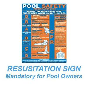 SAFETY POOL SIGN -  POOL RESUSICATION CHART 450X600MM Broadbeach Gold Coast City Preview