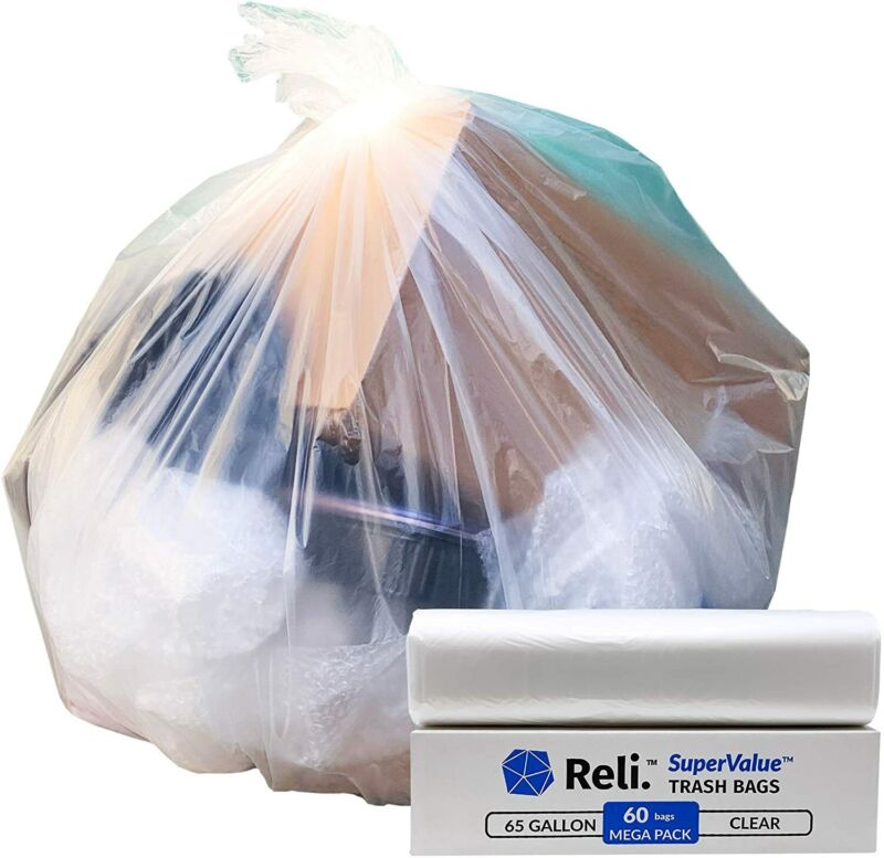 Reli. SuperValue 65 Gallon Trash Bags (60 Count) Clear Garbage Bags| Made in USA