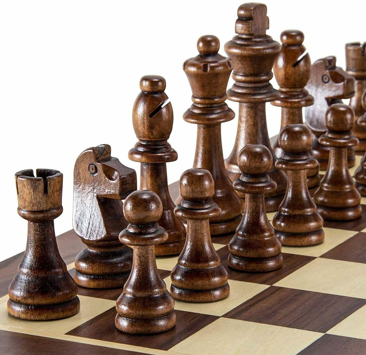 Buy Best Wooden Chess Pieces Staunton Game Chessmen 3.15 inch King Handcrafted Exquisite.