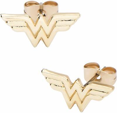 DC Comics Women's Wonder Woman Gold Plated Stud Earrings, One (Wonder Woman Stud Earrings)