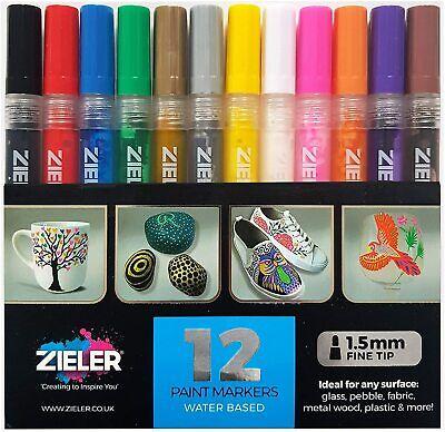 12 Acrylic Paint Pens (1.5mm) for Rock Painting, Ceramic, Porcelain, Glass,Stone Porcelain Paint Pens