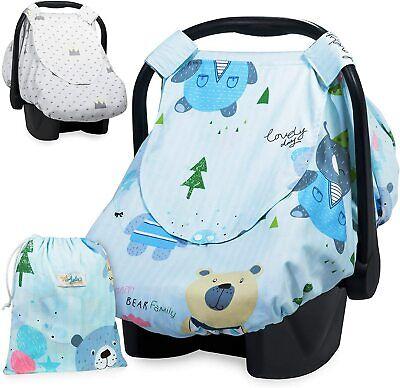Reversible Car Seat Canopy Infant Car Seat Cover para sa Mga Lalaki o Cover ng Pangangalaga sa Nars