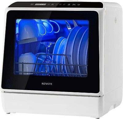Portable Countertop Dishwasher, NOVETE Compact Dishwashers with 5 L Built-in Wat