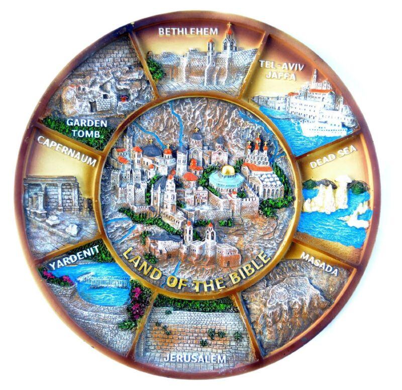 "Amazing souvenir Big plate Israel holy land Ceramic- ""Land Of The Bible"". 8.5"""