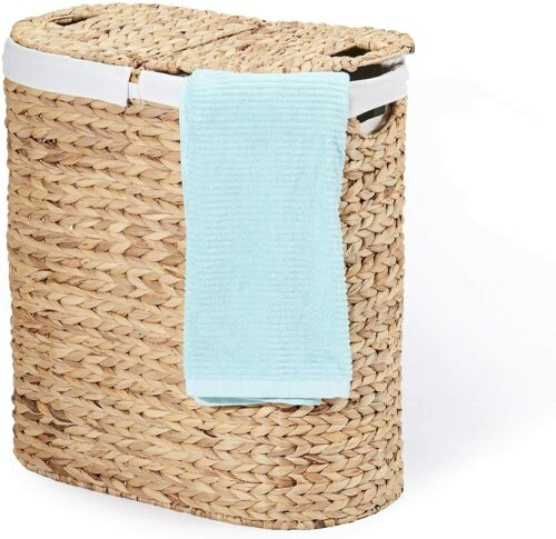 Water-Hyacinth Lidded Oval Double Laundry Hamper, Hand-Woven