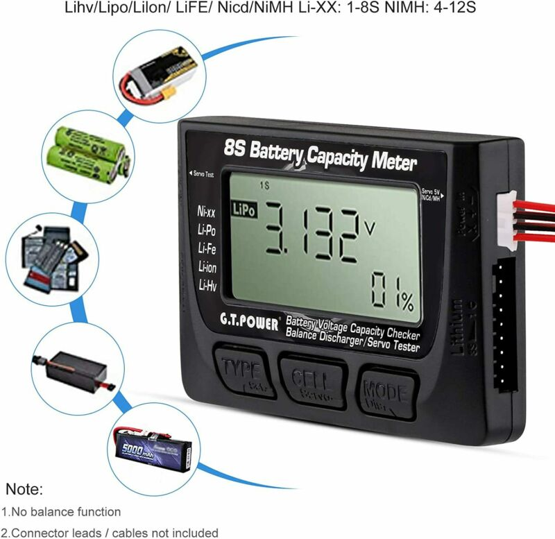 Digital Battery Capacity Tester 1-8S Lipo Battery Voltage Checker Controller