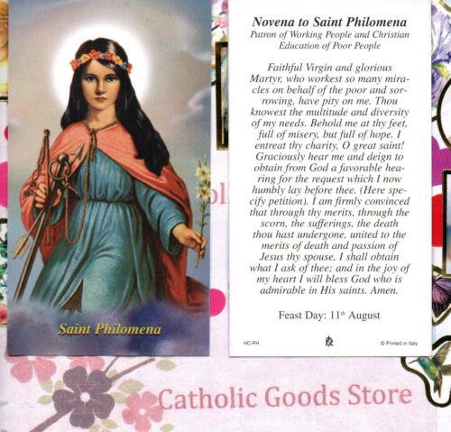 St. Philomena with Novena to Saint Philomena  - Paperstock Holy Card
