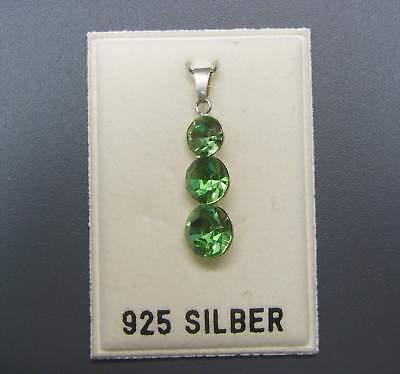 NEU 925 Silber ANHÄNGER mit 3 SWAROVSKI STEINE peridot/grün KETTENANHÄNGER
